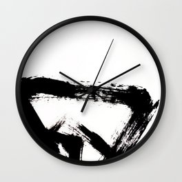 Brushstroke [8] - a simple, abstract, black and white india ink piece Wall Clock