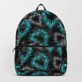 Broken heart . Black and turquoise pattern . Backpack