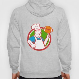 Fat Chef Cook Twirling Football Circle Retro Hoody