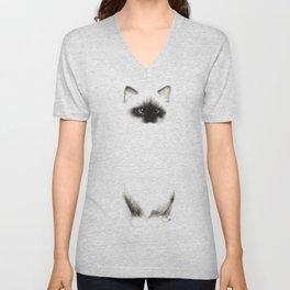 Angora Siamese Cat - Chat Siamois Angora Unisex V-Neck