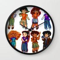 percy jackson Wall Clocks featuring Chibis V2  by chubunu