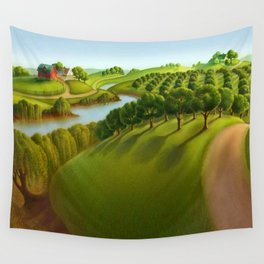 Classical Masterpiece 'The Plains' by Grant Wood Wall Tapestry