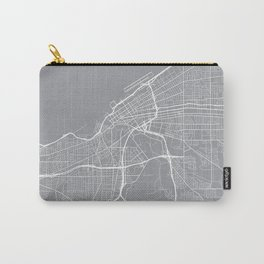 Cleveland Map, Ohio USA - Pewter Carry-All Pouch