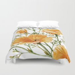California Poppies - Watercolor Painting Duvet Cover