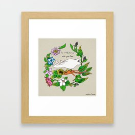 Tarachand's Floral Wreath and Bird with Mother Teresa quote Framed Art Print