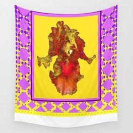 Lilac Purple & Yellow Patterns Golden-Orange  Iris Art Wall Tapestry