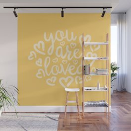 You Are Loved, Sunny Golden Yellow Typography Wall Mural