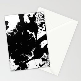 Black and white splat - Abstract, black paint splatter painting Stationery Cards