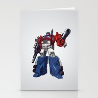 optimus prime Stationery Cards featuring Optimus by CromMorc