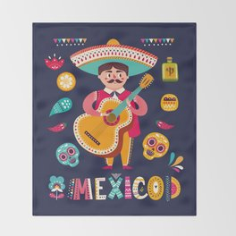 Man with Guitar – Mexico Throw Blanket