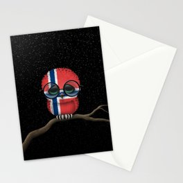 Baby Owl with Glasses and Norwegian Flag Stationery Cards