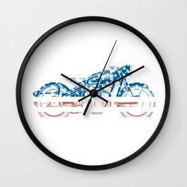 USA American Flag Motorcycle Gift - Patriotic 4th of July Gift Wall Clock