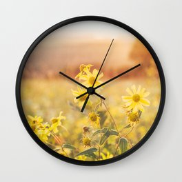 Yellow Flowers at Sunset Wall Clock