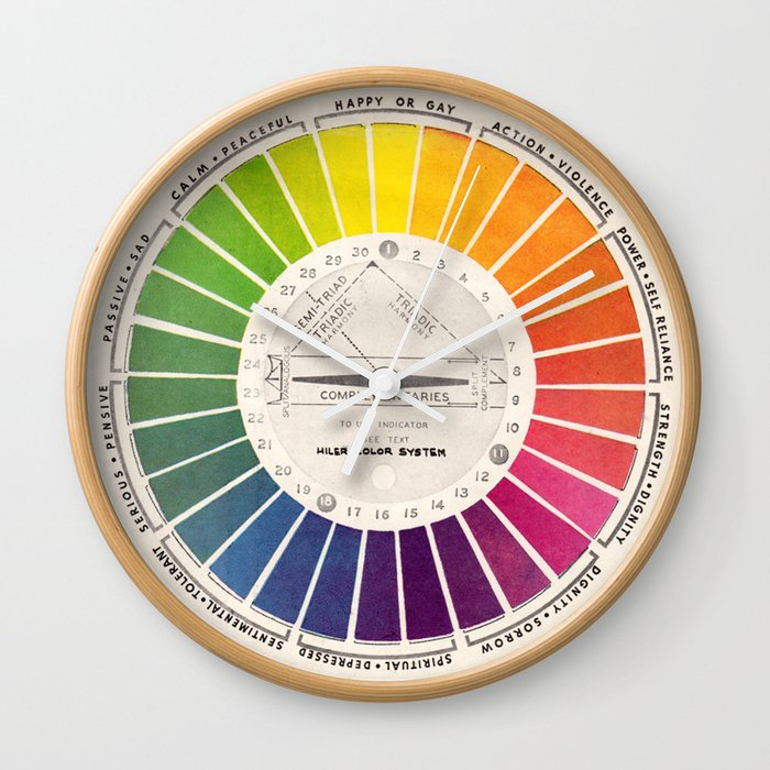 Vintage Color Wheel Art Teaching Tool Rainbow Mood Chart Wall