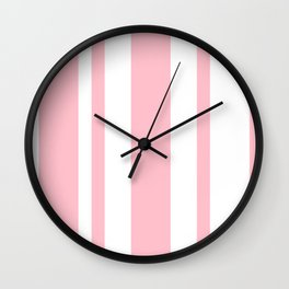 Mixed Vertical Stripes - White and Pink Wall Clock