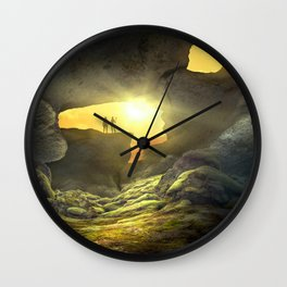 Compelling Fantasy World Cave Lonely Tree Two Humans Silhouette Ultra HD Wall Clock