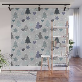 Blue and grey winter pattern on polka dots Wall Mural