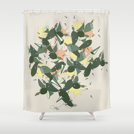 Cacti Explosion - Abstract Digital Print Shower Curtain