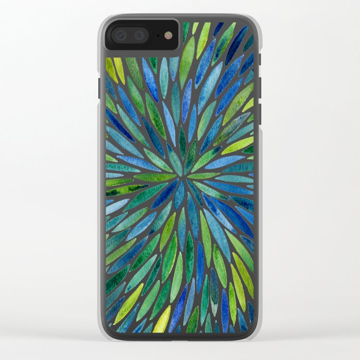Watercolor Burst – Blue & Green Clear iPhone Case