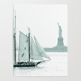 Statue of Liberty with Schooner Poster