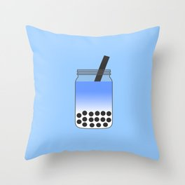 Blue Bubble Tea in Mason Jar Throw Pillow