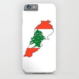 Lebanon Map with Lebanese Flag iPhone Case
