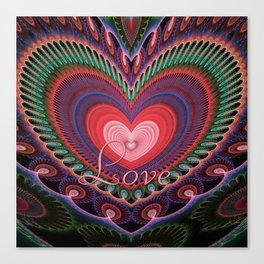 "Curly romantic heart with text ""Love Canvas Print"