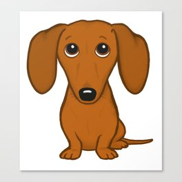 Shorthaired Dachshund Cartoon Dog Canvas Print