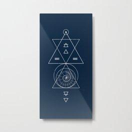 Espiral Triangle Blue Metal Print