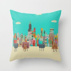 Chicago city (summer days) Throw Pillow