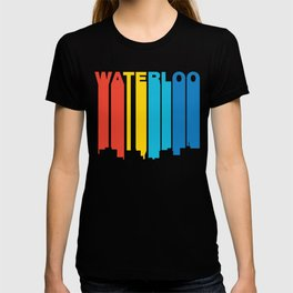 Retro 1970's Style Waterloo Iowa Skyline T-shirt