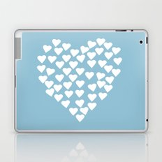 Hearts Heart White on Blue Laptop & iPad Skin