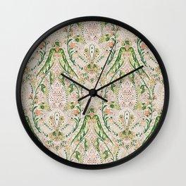 Green Pink Leaf Flower Paisley Wall Clock