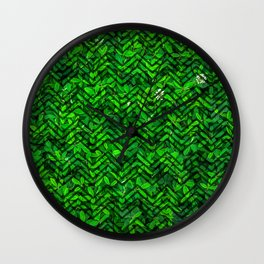 Don't leaf me (Vibrant green grass and clover meadow with chevron pattern) Wall Clock