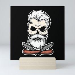 Vintage Barber Skull Mini Art Print