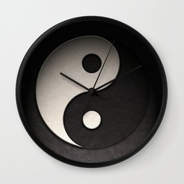 Yin Yang Symbol In Leather Texture Wall Clock