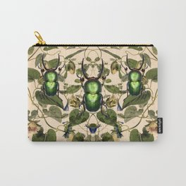 Green Stag Beetle Botanical Pattern Carry-All Pouch