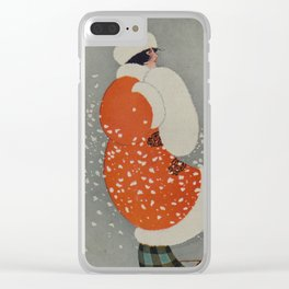 Vintage Christmas Lady in Blowing Snow (1914) Clear iPhone Case