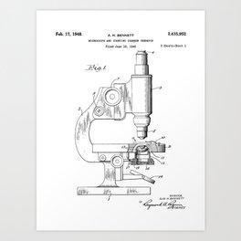 Microscope Patent - Scientist Art - Black And White Art Print