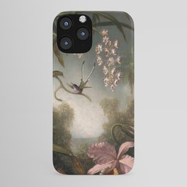 Orchids And Spray Orchids With Hummingbird 1890 By Martin Johnson Heade | Reproduction iPhone Case