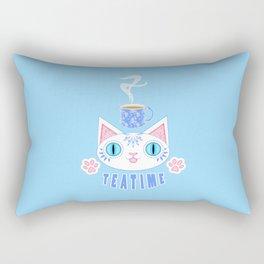 Teatime Cat Loves Tea Rectangular Pillow