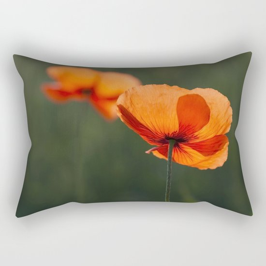 Poppies secretly in love Rectangular Pillow