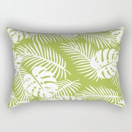 Olive Green Jungle Palm Leaves Pattern Rectangular Pillow