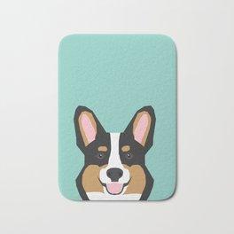 Tricolored Corgi cute corgi dog portrait custom dog art pet friendly dog head cell case Bath Mat