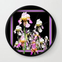 White-Purple Iris Garden Lilac-Black Design Wall Clock