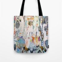 "flora bowley Tote Bags featuring ""Solstice"" Original Painting by Flora Bowley by Flora Bowley"