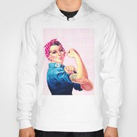 sayings Hoodies featuring Fight Like A Girl Rosie The Riveter Girly Mod Pink by Girly Road