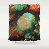 malachite Shower Curtains featuring Geode II, Malachite by Titania Designs