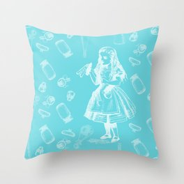 Alice in Wonderland and Jars Throw Pillow