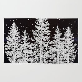 Trees in a Winter Forest Rug